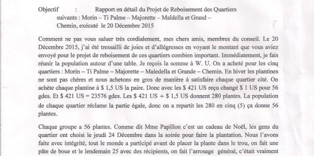 rapport du projet de reboisement pour les 5 quartiers de Denis SAINSILA du 07/01/2016